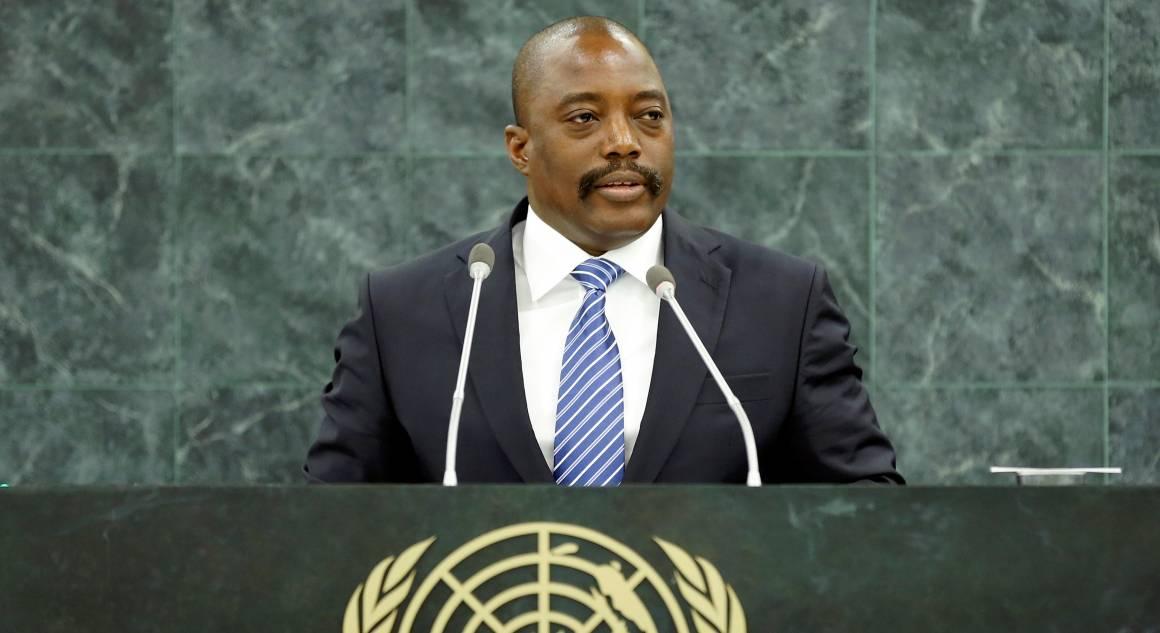 Kuvassa Kongon entinen presidentti Joseph Kabila puhuu YK:n yleiskokoukselle vuonna 2013. Kuva: YK-kuva/Ryan Brown.