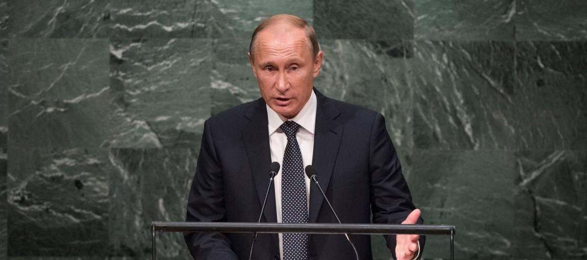 Venäjän presidentti Vladimir Putin puhuu YK:n yleiskokouksessa. Kuva: YK-kuva/Cia Pak.
