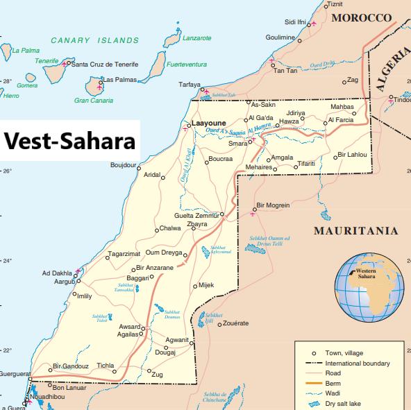 Kartassa näkyy Länsi-Sahara ja sen naapurimaat. Pohjoisessa Marokosta ja etelässä Länsi-Saharan kautta rannikolle ulottuva punainen putki on Marokon rakentama 2700 kilometriä pitkä muuri, joka käytännössä jakaa Länsi-Saharan kahtia. (Lähde: un.org)