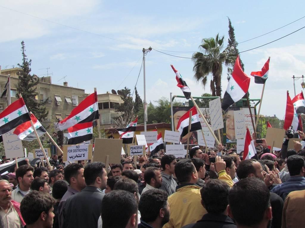 Mielenosoitukset alkoivat Syyriassarauhanomaisina, mutta kehittyivät vähitellen aseistetuiksi taisteluiksi.(Kuva: Shamsnn via Flickr/Wikimedia Commons)
