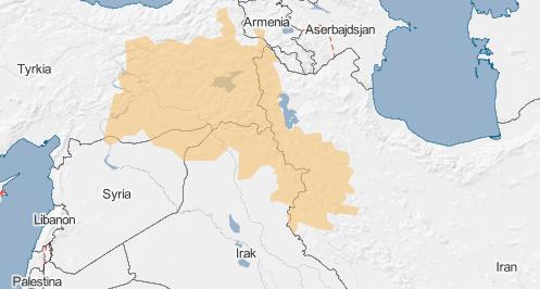 Oranssi kenttä merkitsee aluetta, jossa asuu monia kurdeja, ja sitä kutsutaan usein Kurdistaniksi. Lähde: Globalis