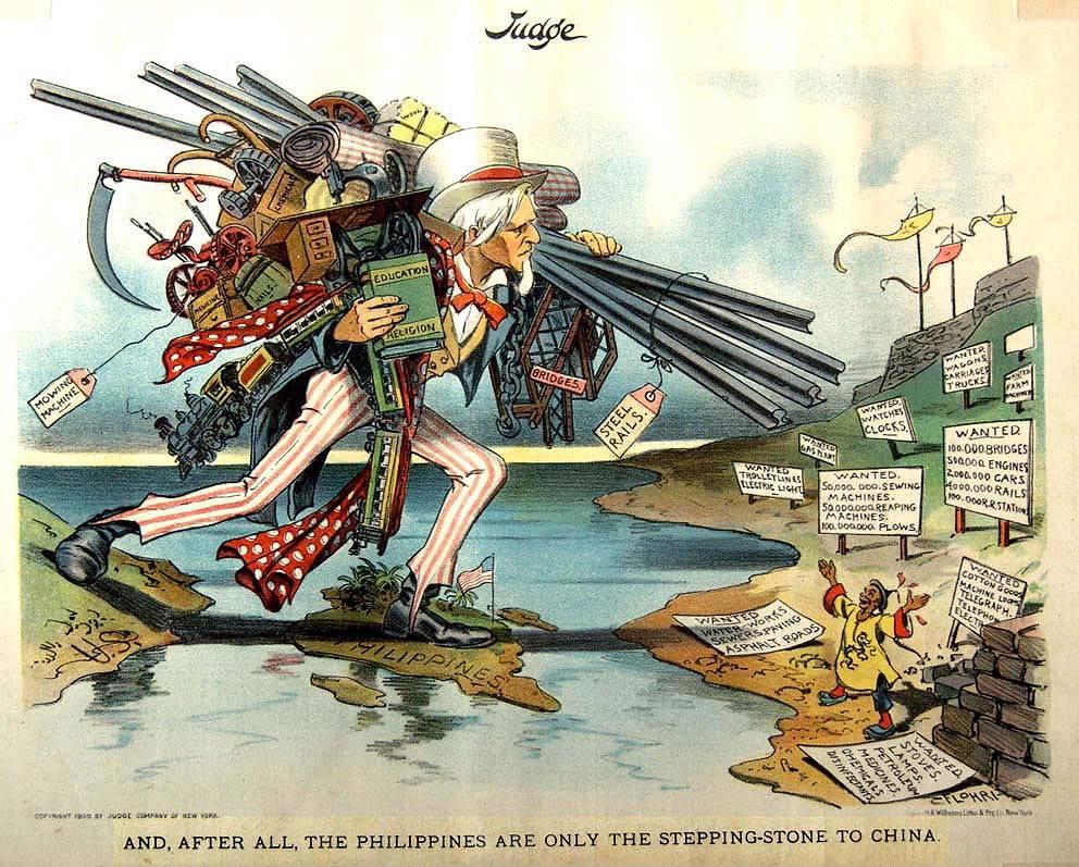 1900-alun pilakuvassaYhdysvallatloikkaa Tyynen valtameren yliKiinan markkinoille. Filippiinit toimivat Uncle Samin jalansijana.Kuva:Judge Magazine (1902)